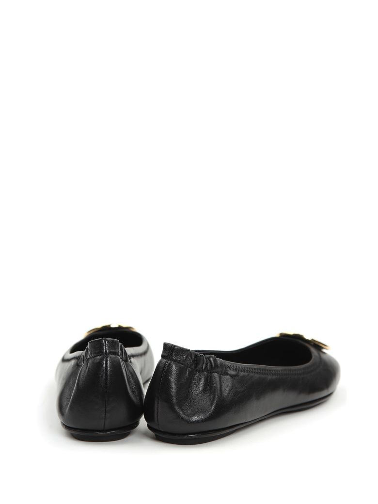 TORY BURCH 'Minnie Travel' Leather Ballet Flats in Black/ Gold