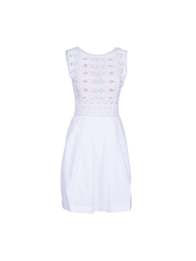 ALBERTA FERRETTI Sleeveless Embellished Lattice Dress in White