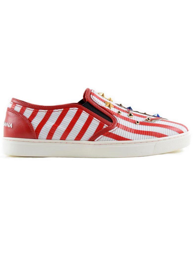 DOLCE & GABBANA Sneaker Rete in Bianco/Rosso