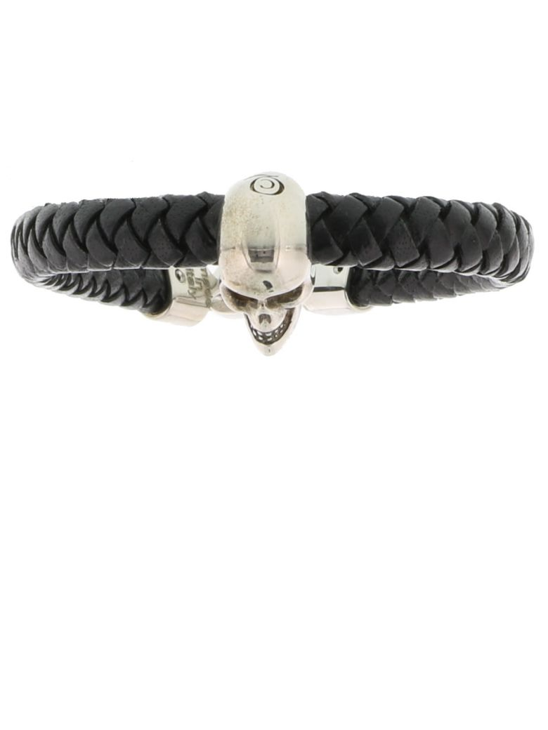 Braided Leather And Burnished Silver-Tone Skull Bracelet in Black
