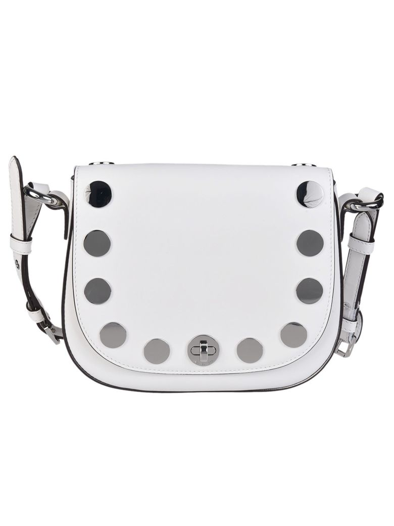 MICHAEL MICHAEL KORS Michael Kors Studded Medium Shoulder Bag in Bianco