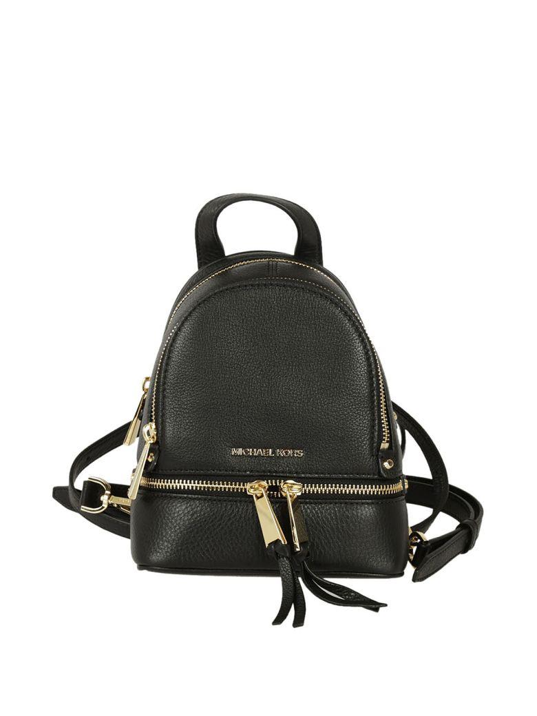34c44355d0c8 Michael Kors Michael Rhea Zip Extra Small Messenger Backpack In Nero Oro