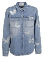 Valentino: Denim Butterfly Appliqué Denim Shirt