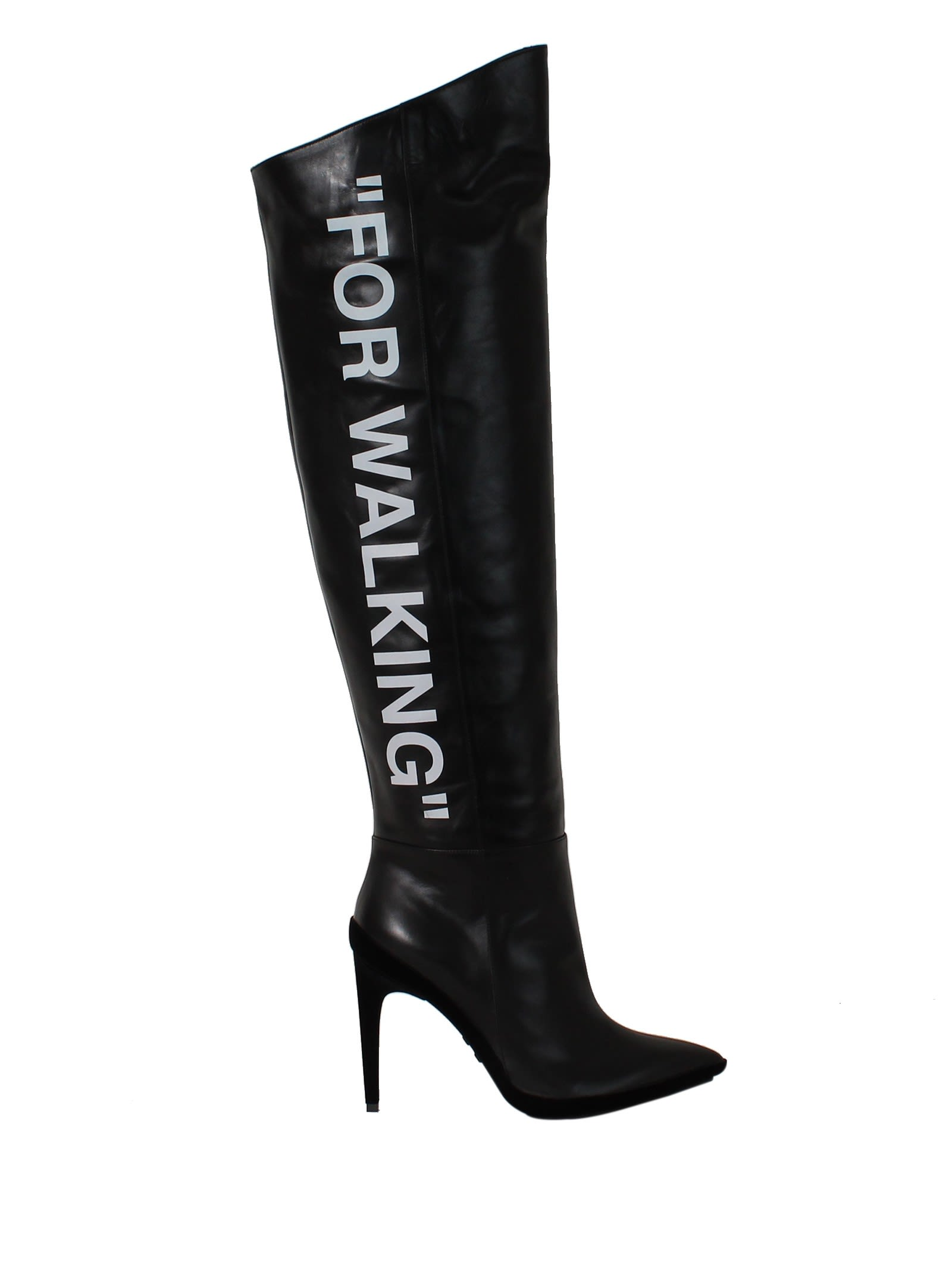 "OFF-WHITE100MM ""FOR WALKING"" SCARF LEATHER BOOTS"