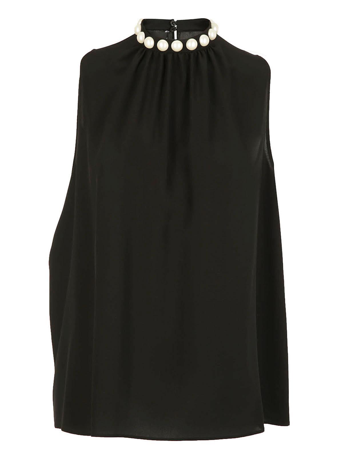 Boutique Moschino negro top con tachonado en halter cuello ZRAZqdgwr