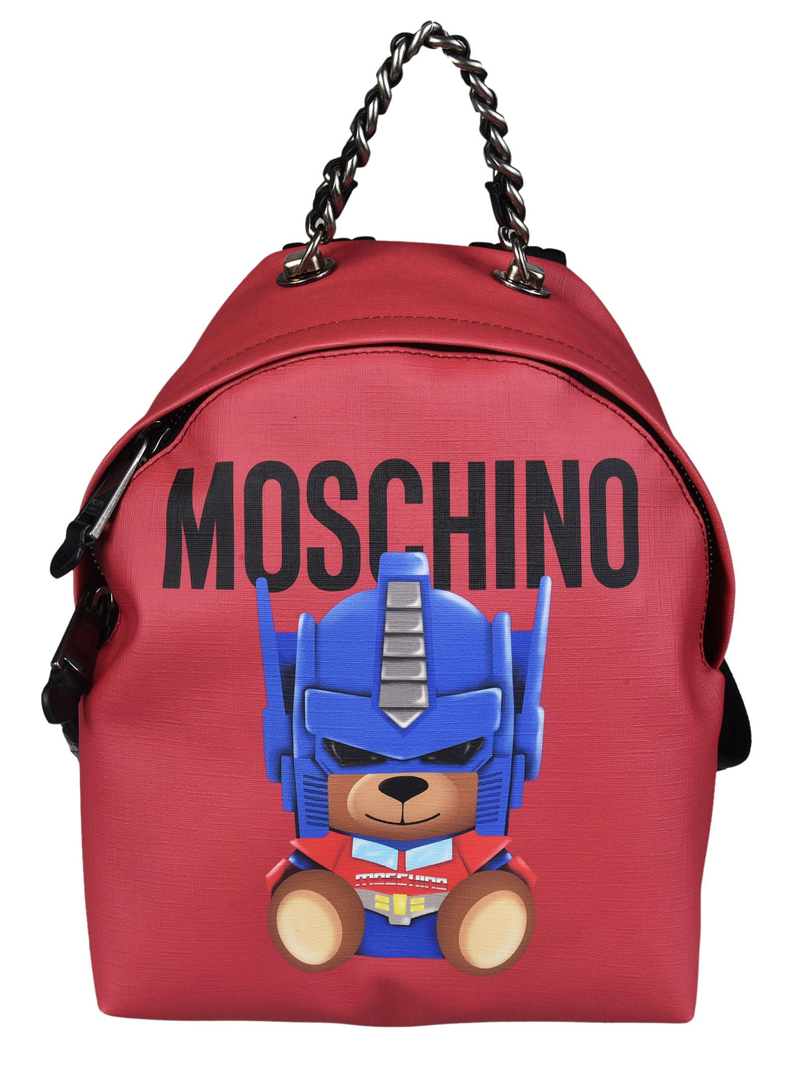 Backpack Transformer Black: MOSCHINO Transformers Red Print Polyurethane Backpack W