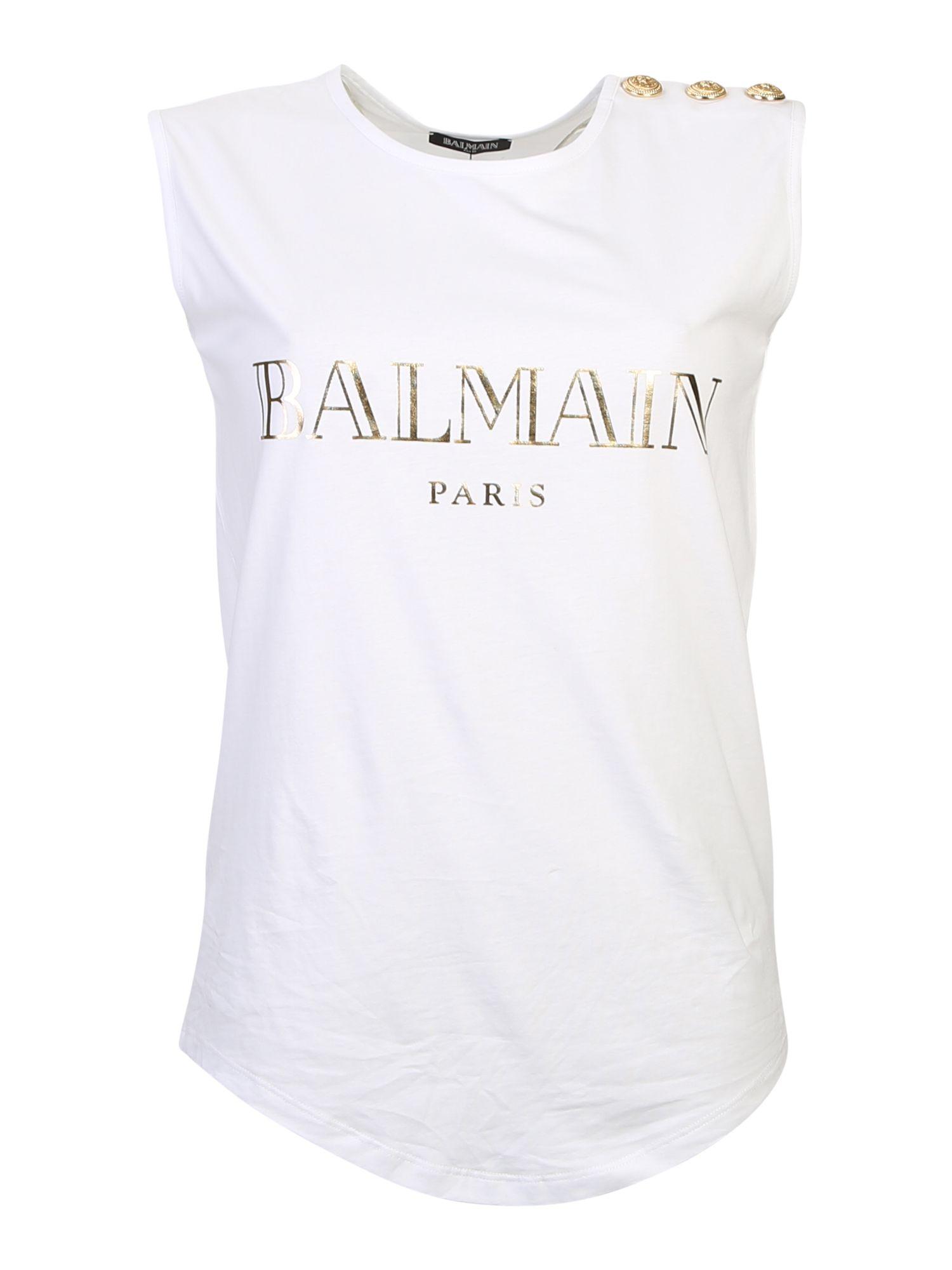 Balmain white sleeveless logo t shirt modesens for Balmain white logo t shirt