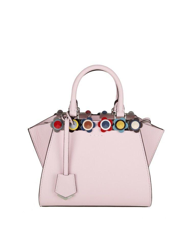 Fendi Bag 3jours Mini Leather Pink Stud In Plexi