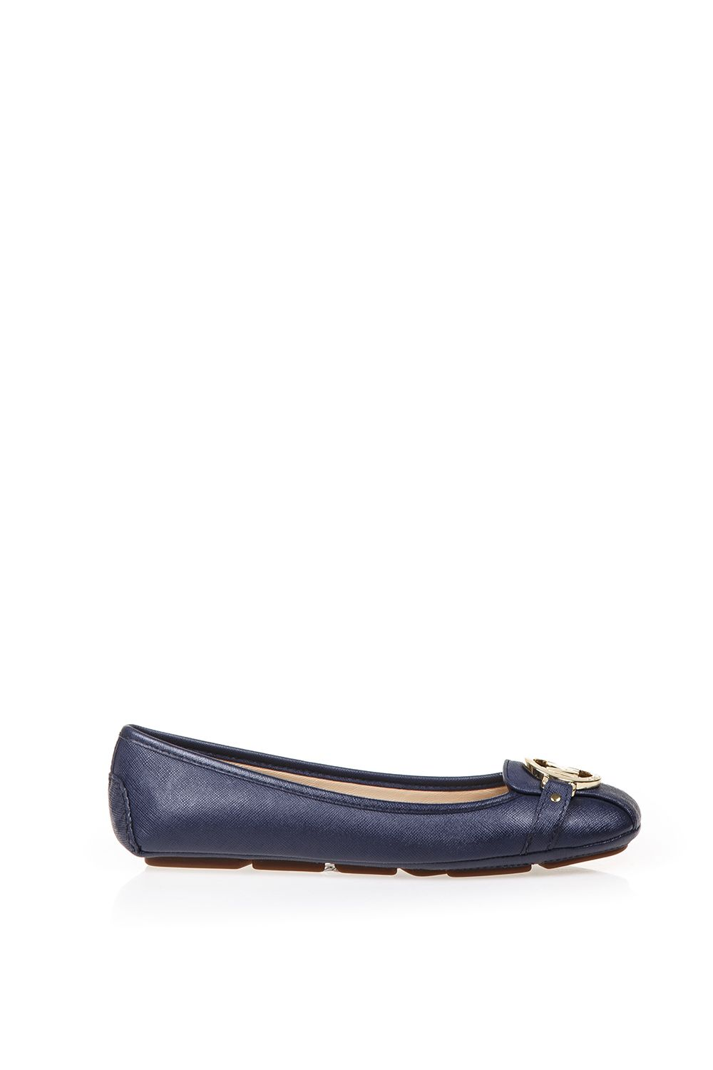 michael michael kors michael michael kors leather ballerinas with logo navy women 39 s flat. Black Bedroom Furniture Sets. Home Design Ideas