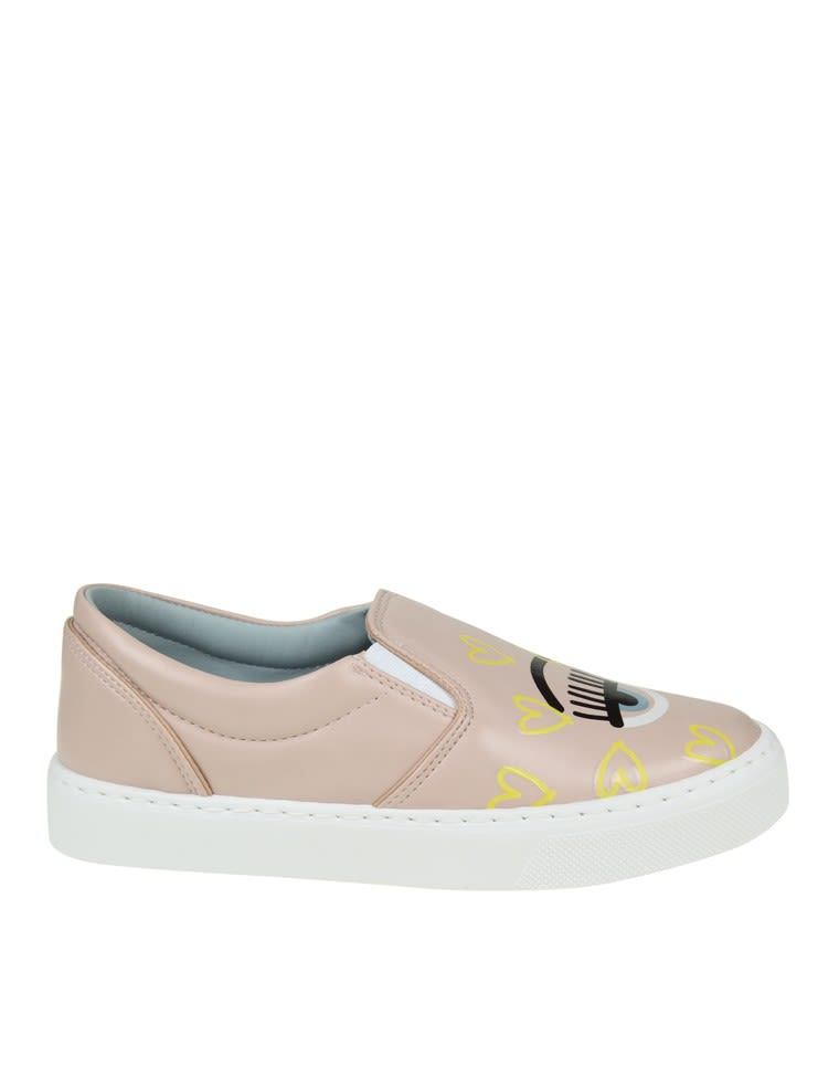 Chiara Ferragni Slip-on Flirting In Pink Colored Leather