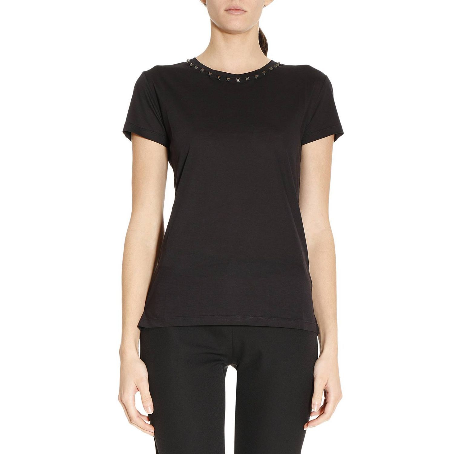 T-shirt Basic Round Neck T-shirt With Micro Studs