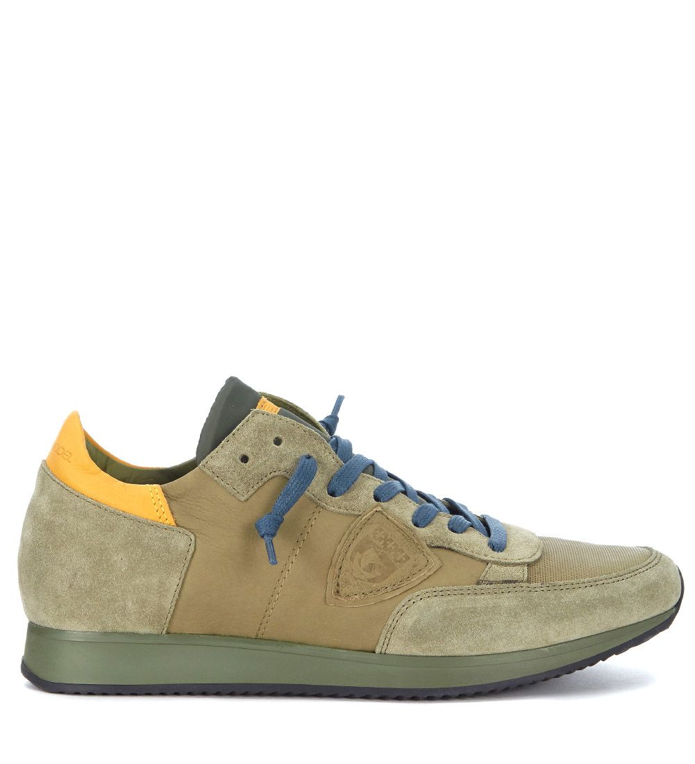 Philippe Model Tropez Olive Green Suede Sneaker