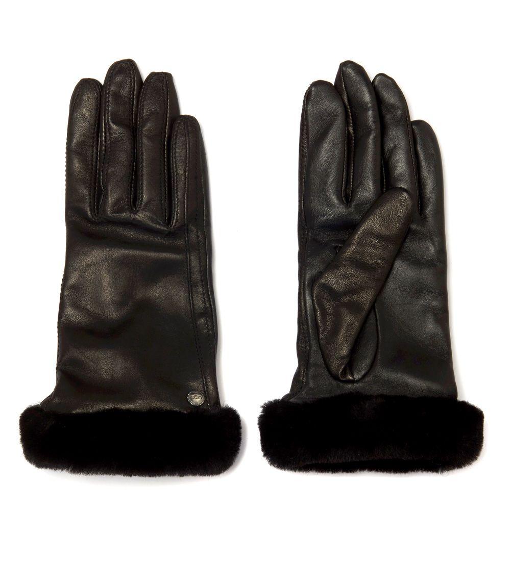 Ugg Smart Glove Black Leather And Fur Gloves