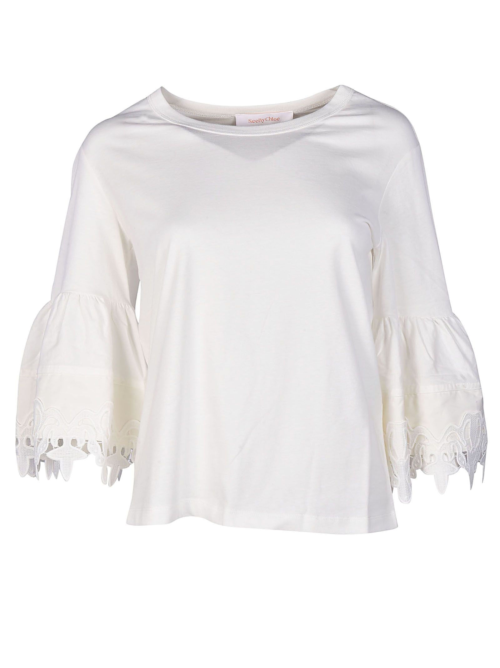 See By Chloé Lace Trim Bell Sleeve T-shirt