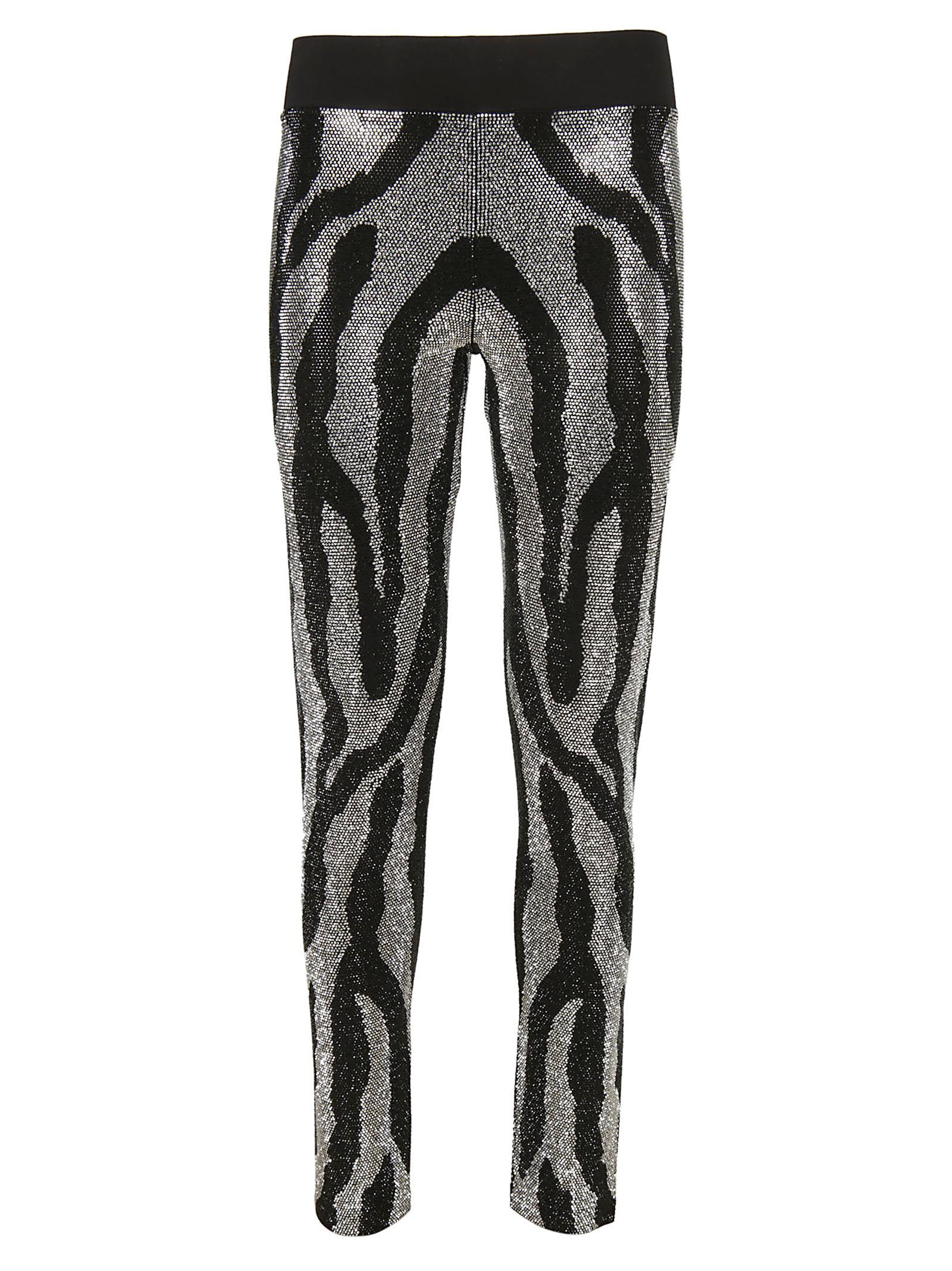 Philipp Plein Rhinestone Zebra Stripe Leggings