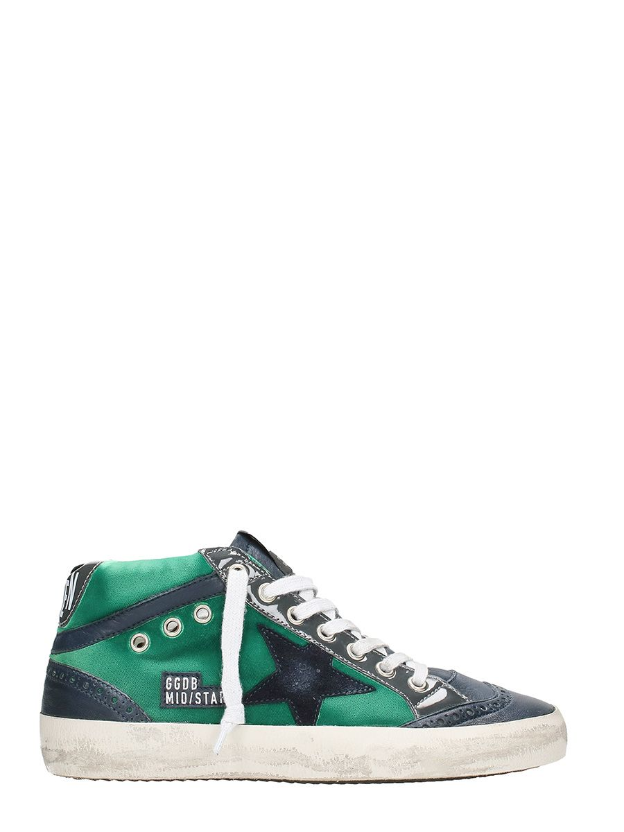Golden Goose Mid Star Green Leather Sneakers