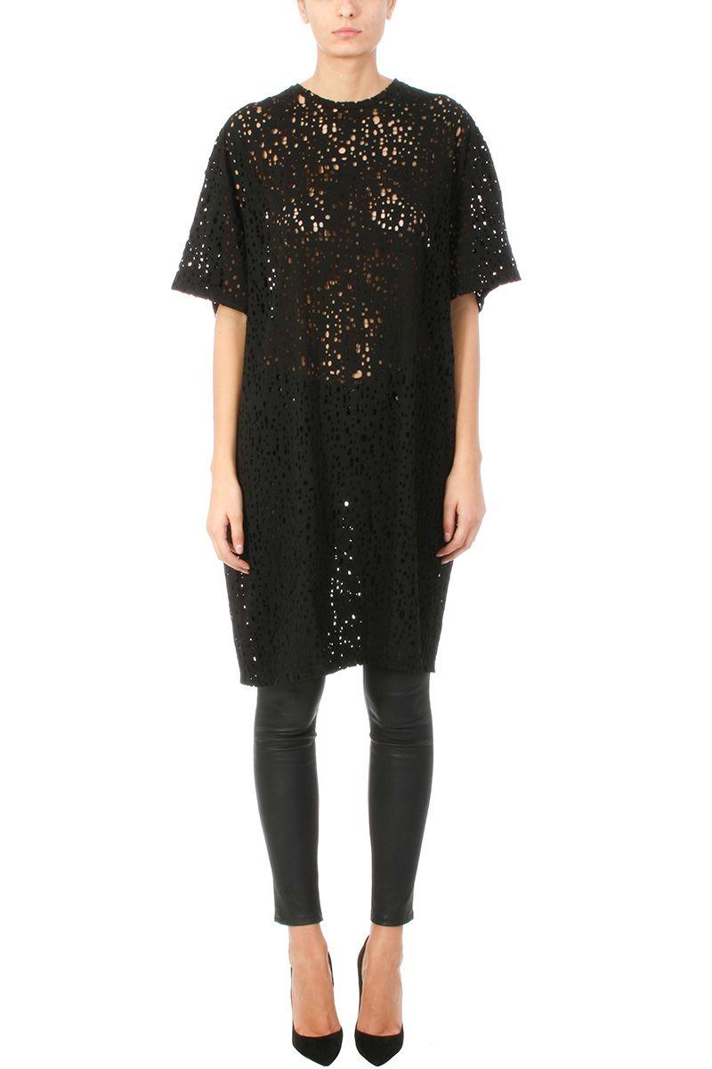 Balmain Distressed Black Cotton-jersey Dress