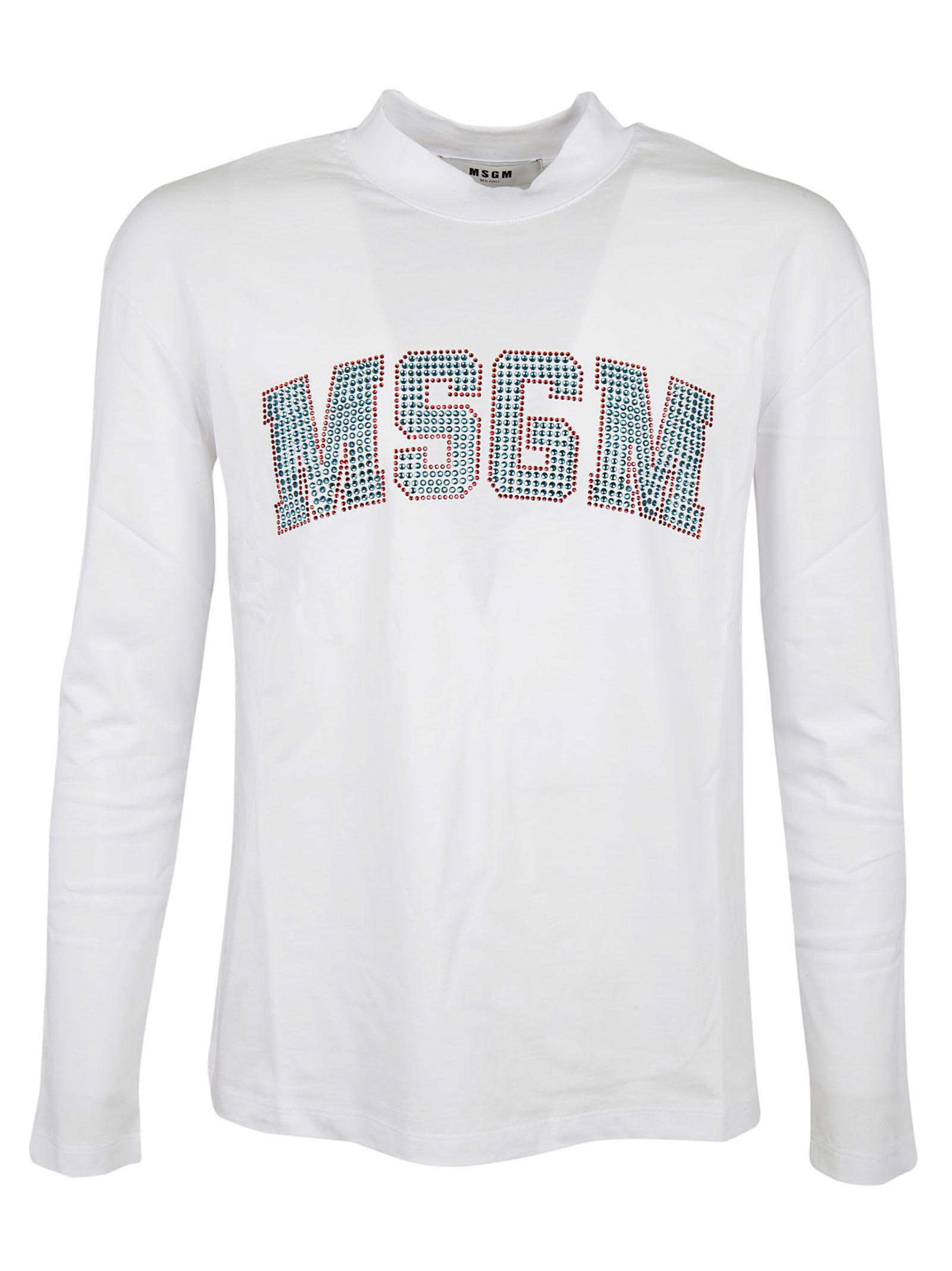 MSGM Embellished Logo T-shirt
