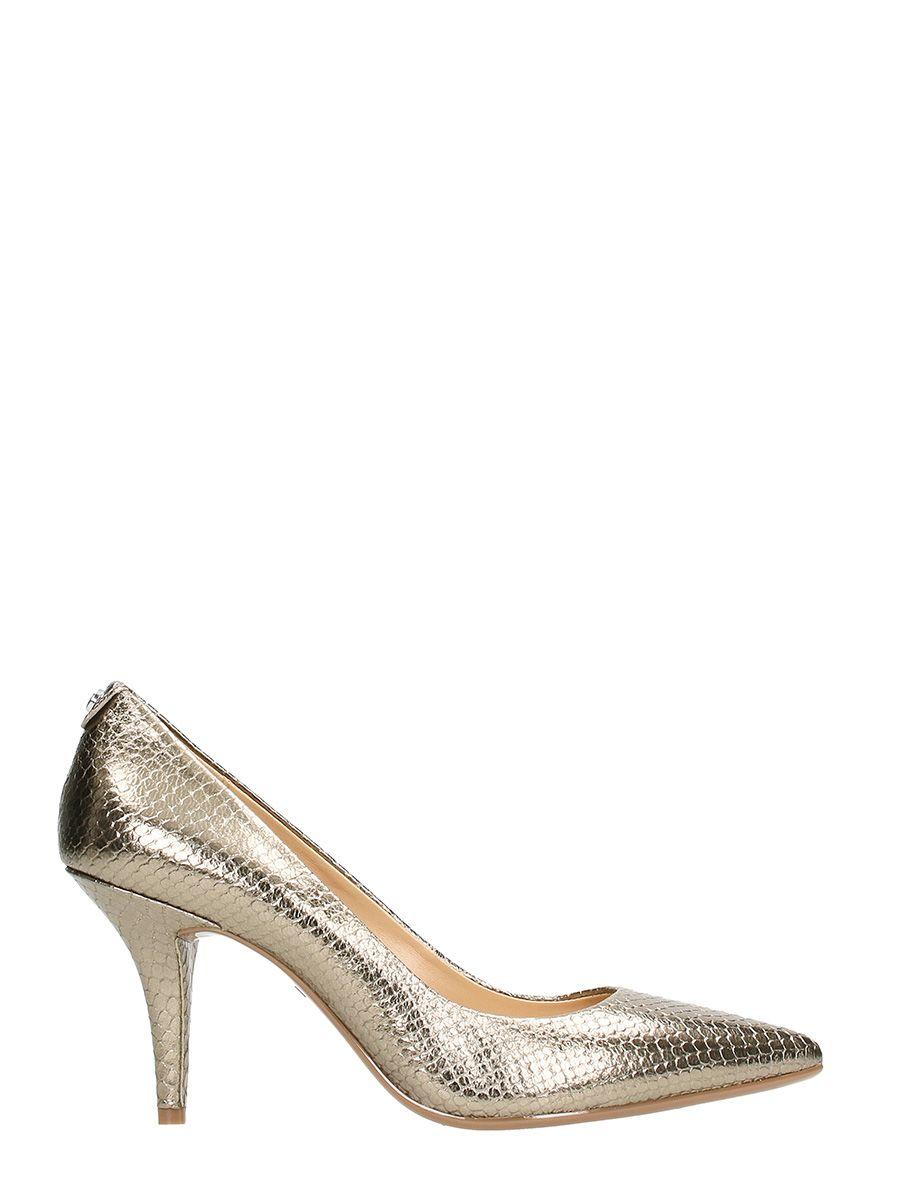 michael kors michael kors flex mid silver leather pumps platinum women 39 s high heeled shoes. Black Bedroom Furniture Sets. Home Design Ideas