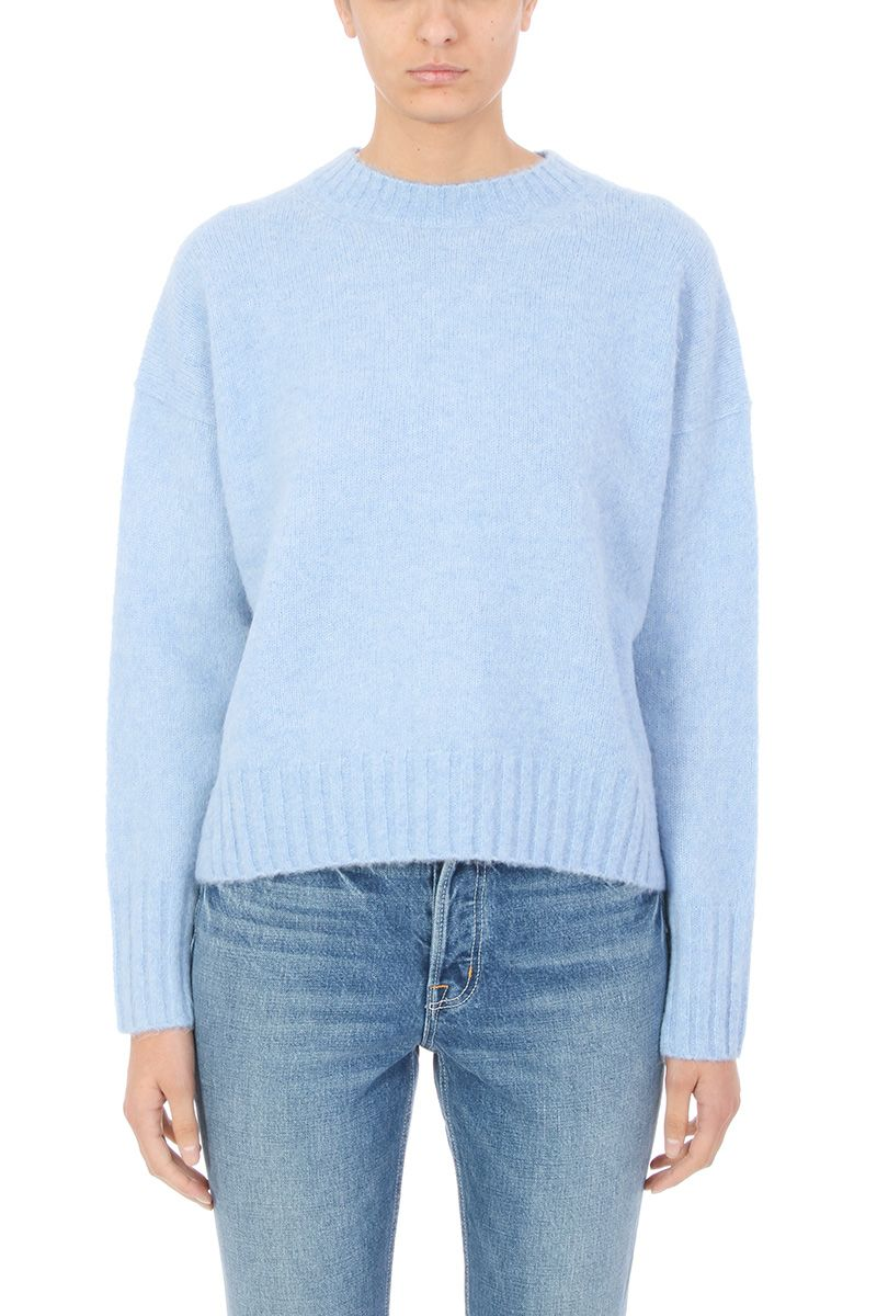 1e37cdc80a Helmut Lang Crewneck Sweater In Brushed Wool In Cyan