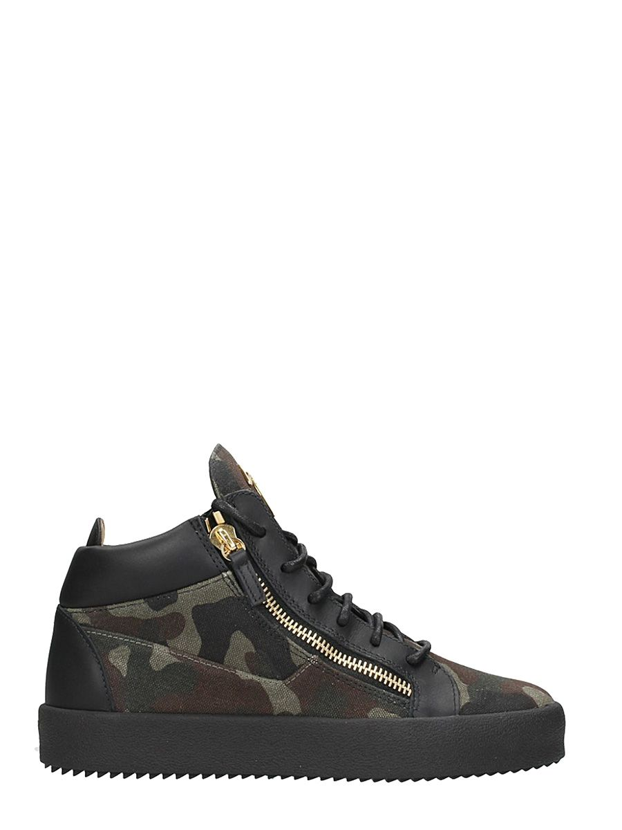 Giuseppe Zanotti Mid-top Sneaker In Leather And Camouflage Fabric