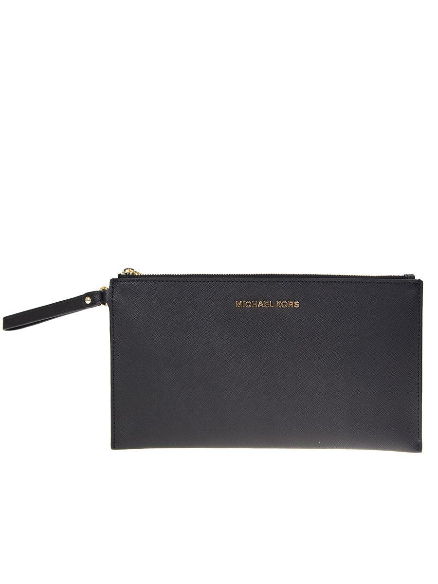 Black Leather Bedford Clutch