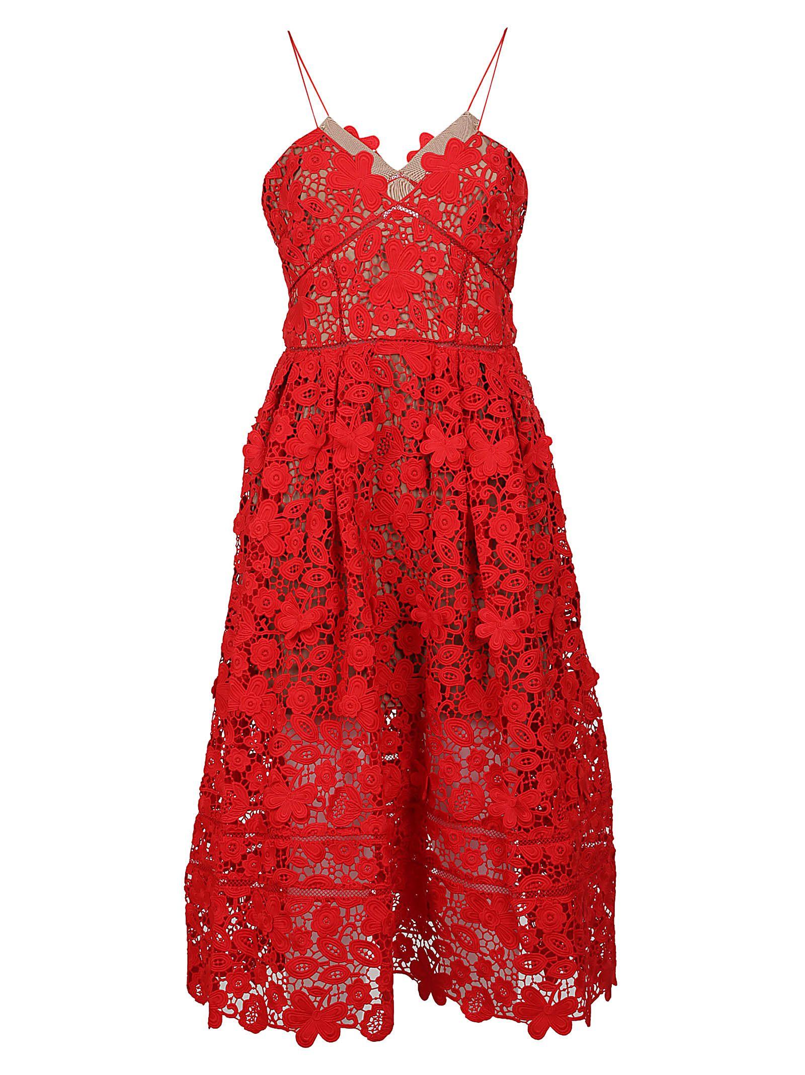 Self-portrait 3d Floral Azalea Guipure-lace Midi Dress