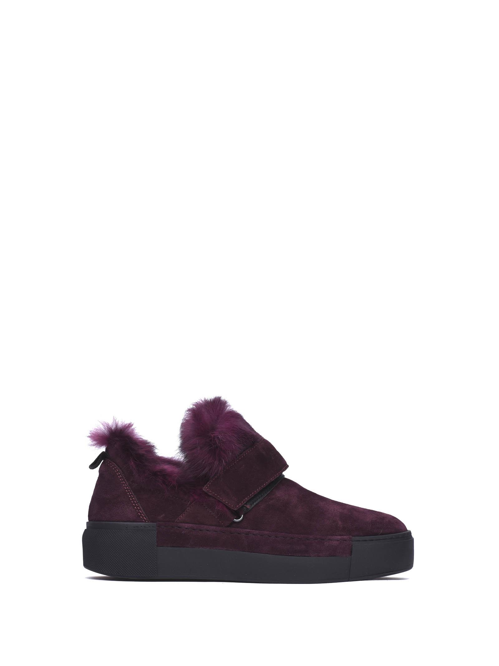 Vic Matiè Bordeaux Slip-on Shoes With Velcro And Rabbit Fur Appliqué