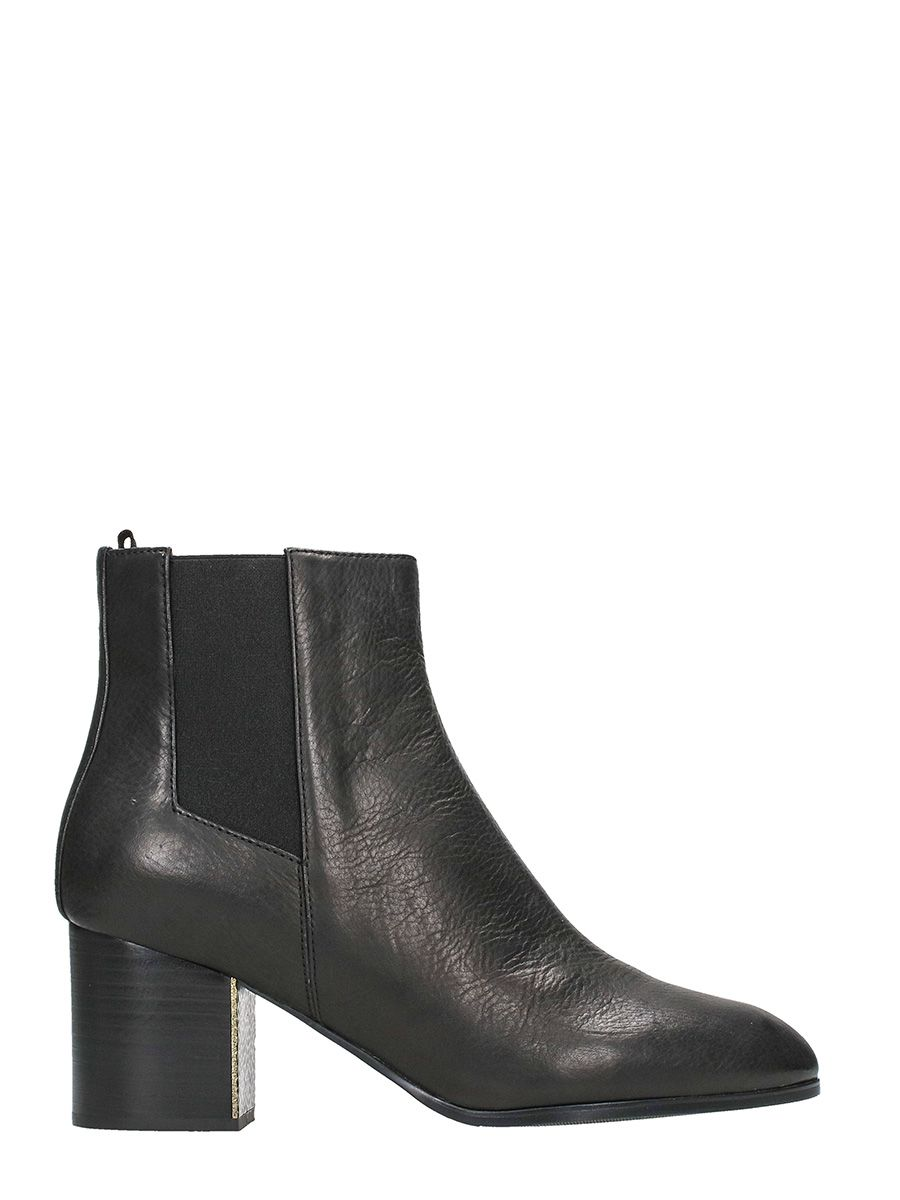 Jil Sander Navy Black Leather Ankle Boots