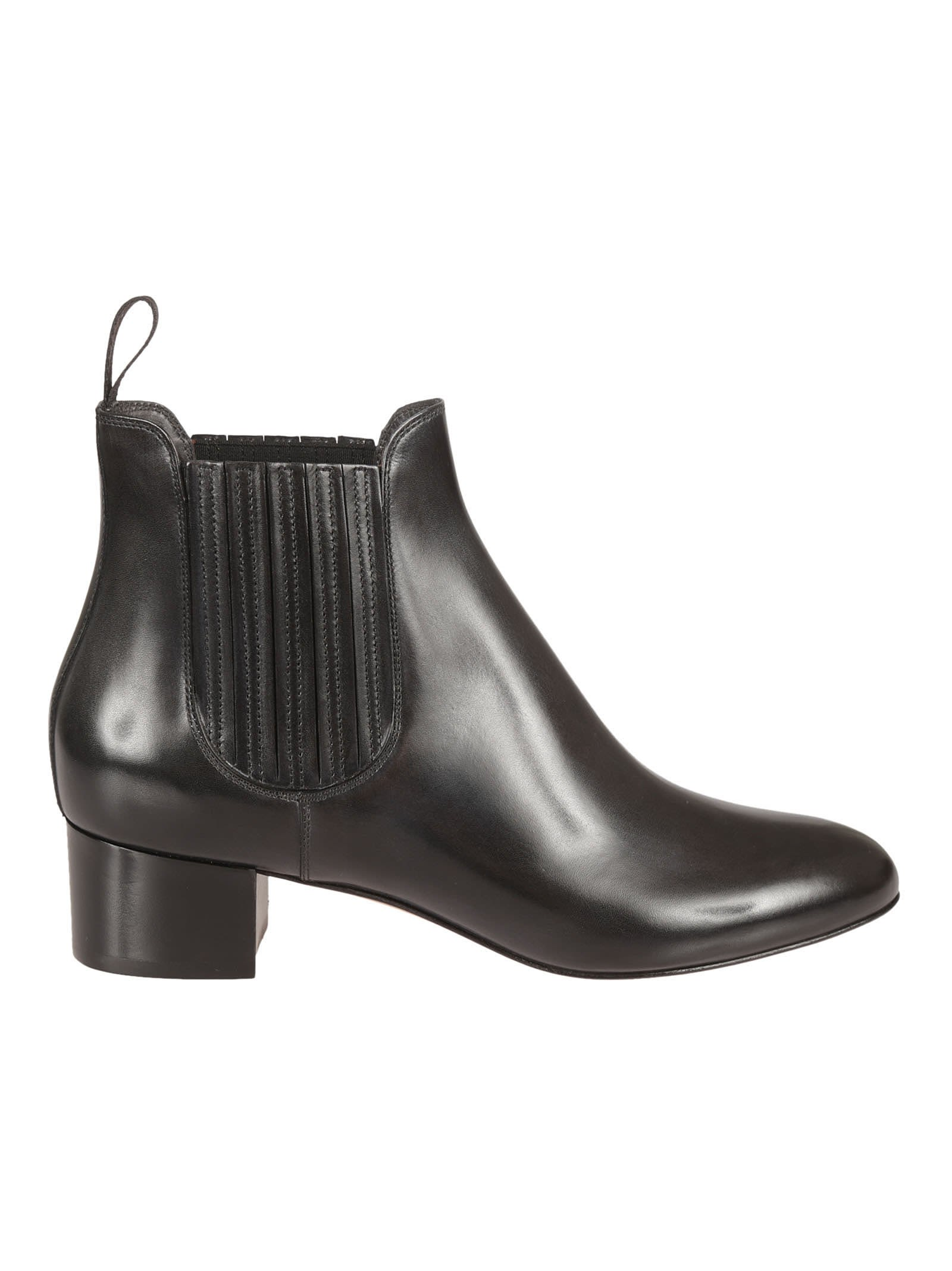 Santoni Black Calf Ankle Boots