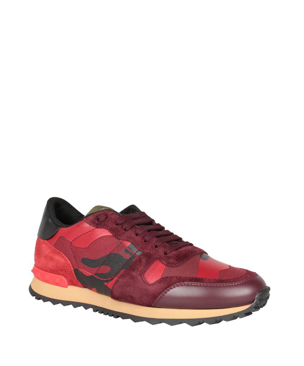 valentino garavani valentino garavani rockrunner camouflage leather sneakers rosso women 39 s. Black Bedroom Furniture Sets. Home Design Ideas