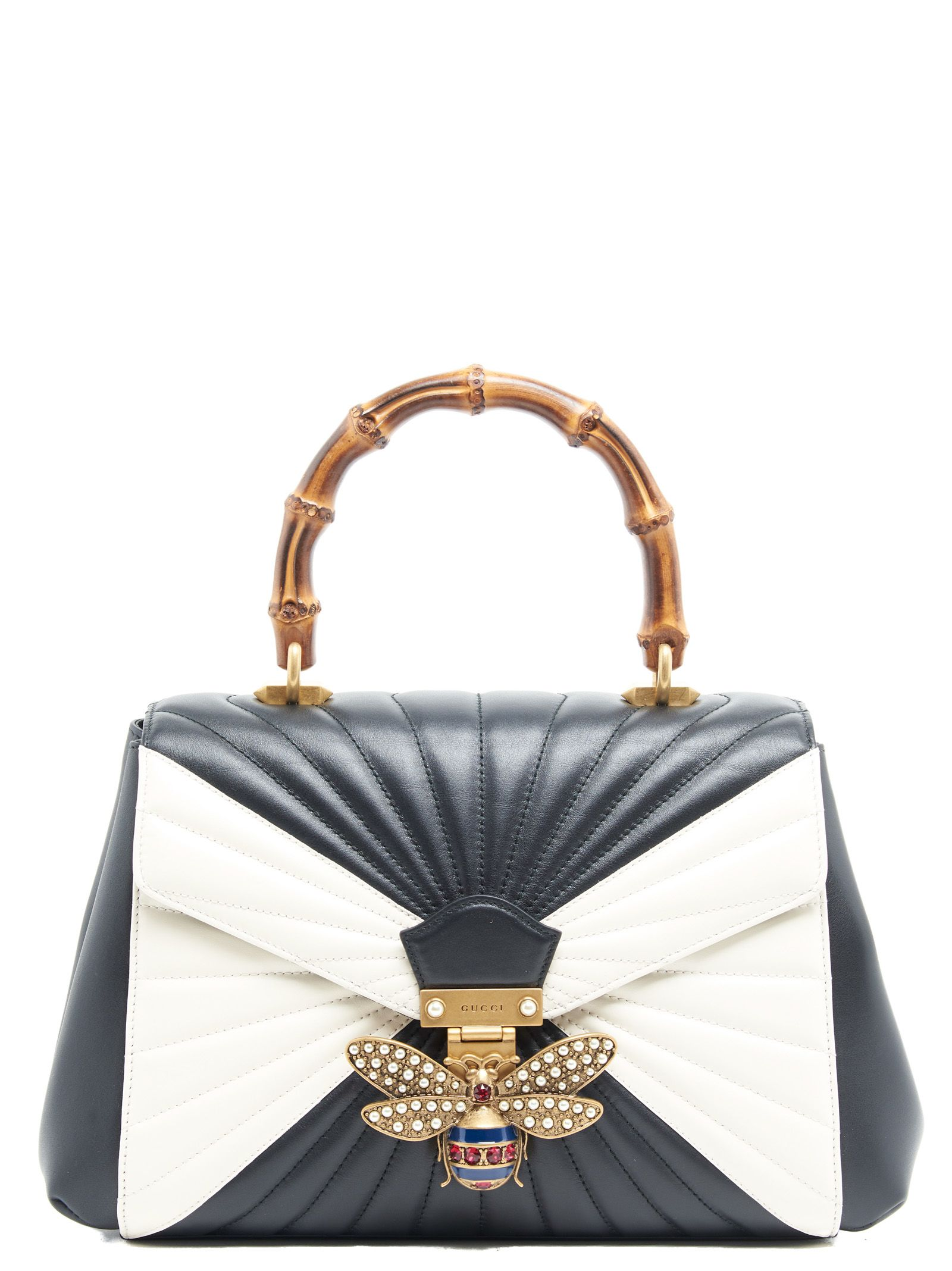 7cc049c8c GUCCI QUEEN MARGARET LEATHER BAG, BLACK & WHITE | ModeSens