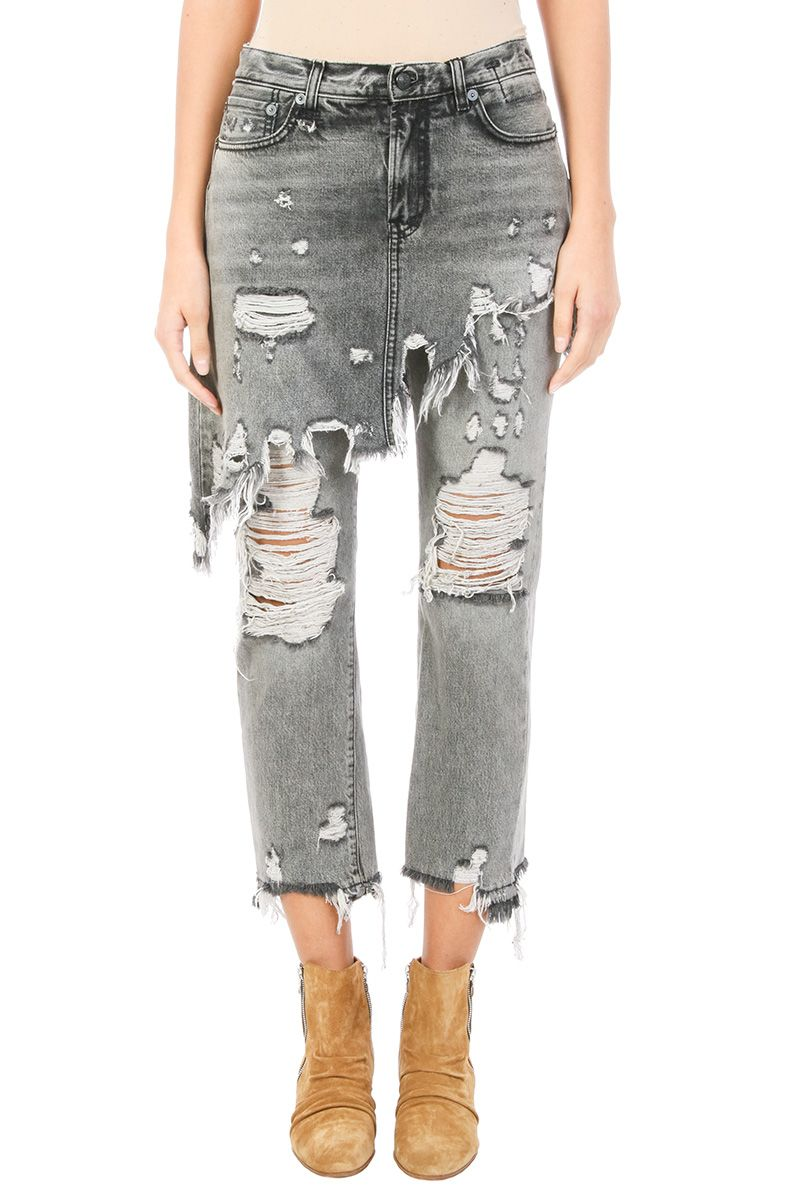 R13 Grey Cotton Distressed Skirt-effect Jeans