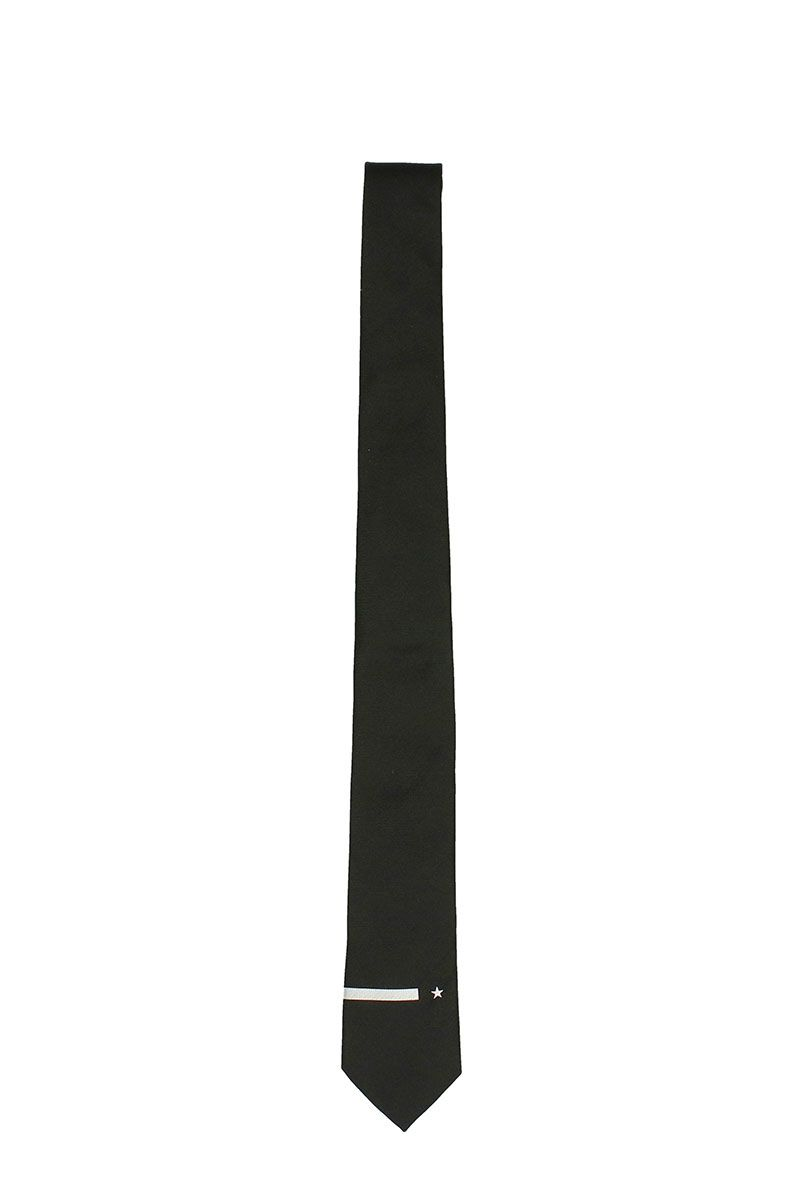 Givenchy Star And Stripe Embroidered Tie In Black Silk
