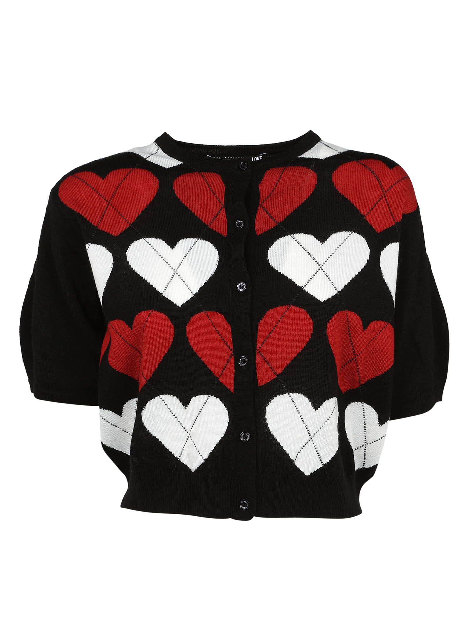 Heart Knitted Cropped Cardigan