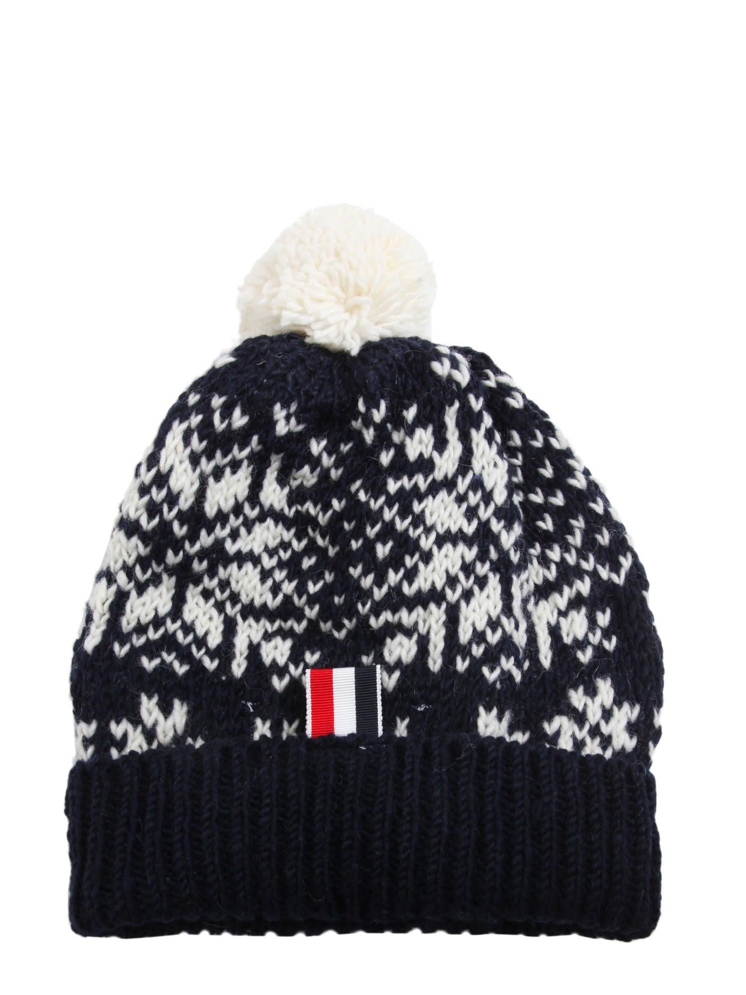 Thom Browne Fair Isle Snowflake-Pattern Wool-Mohair Beanie In Navy ... 91b495c08cb8