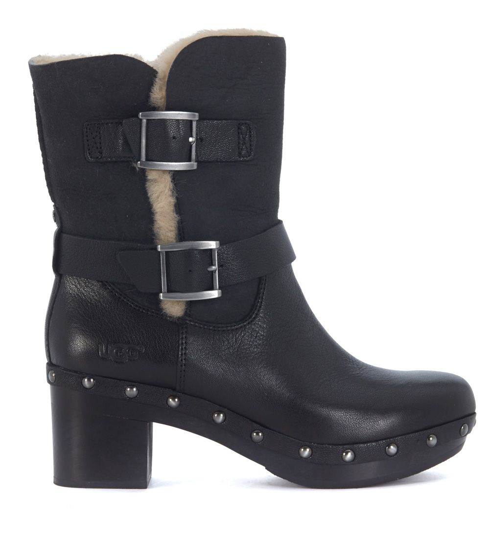 ugg ugg ankle boots in black suede and leather