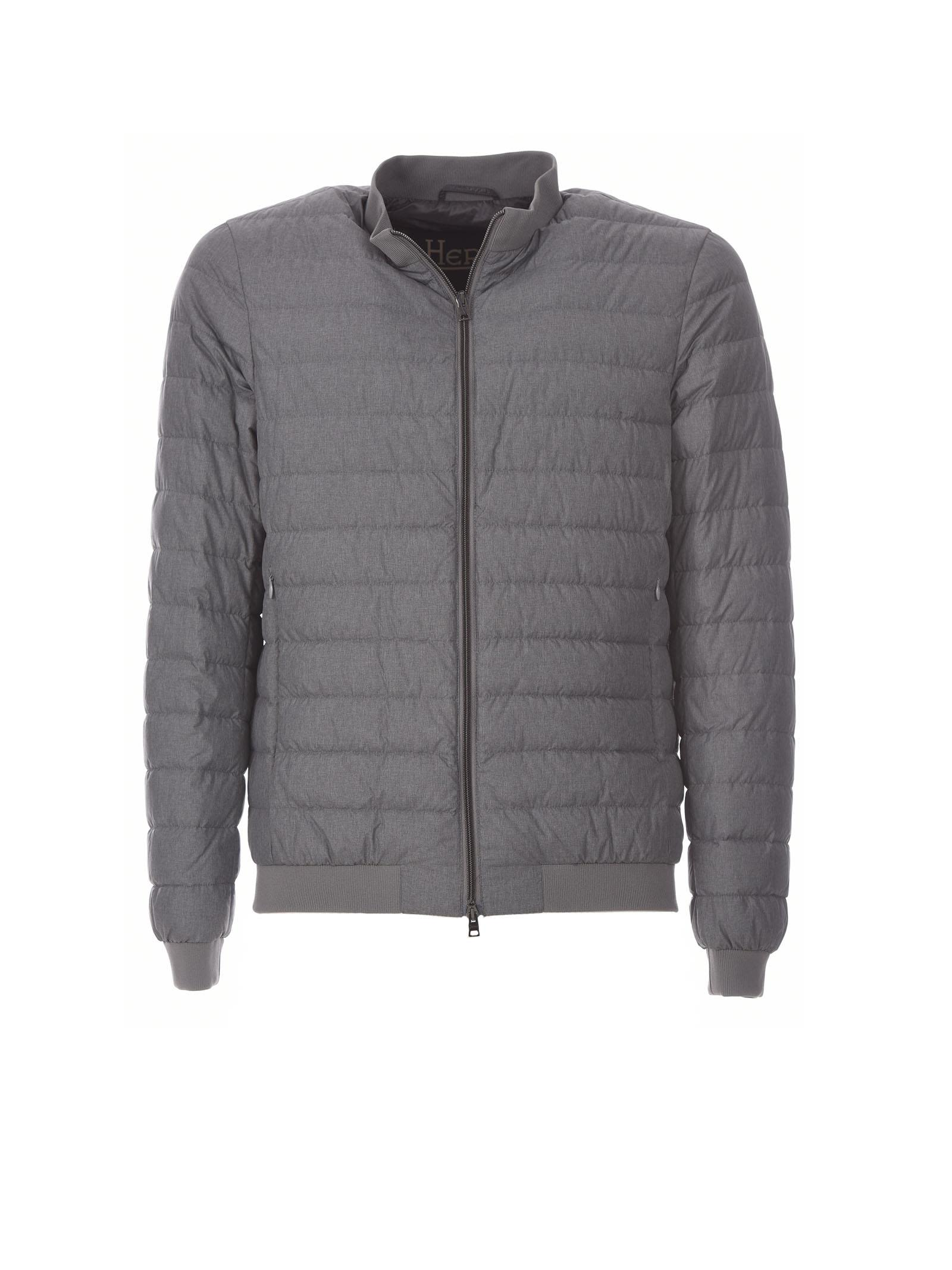 Herno Grey Padded Bomber Jacket