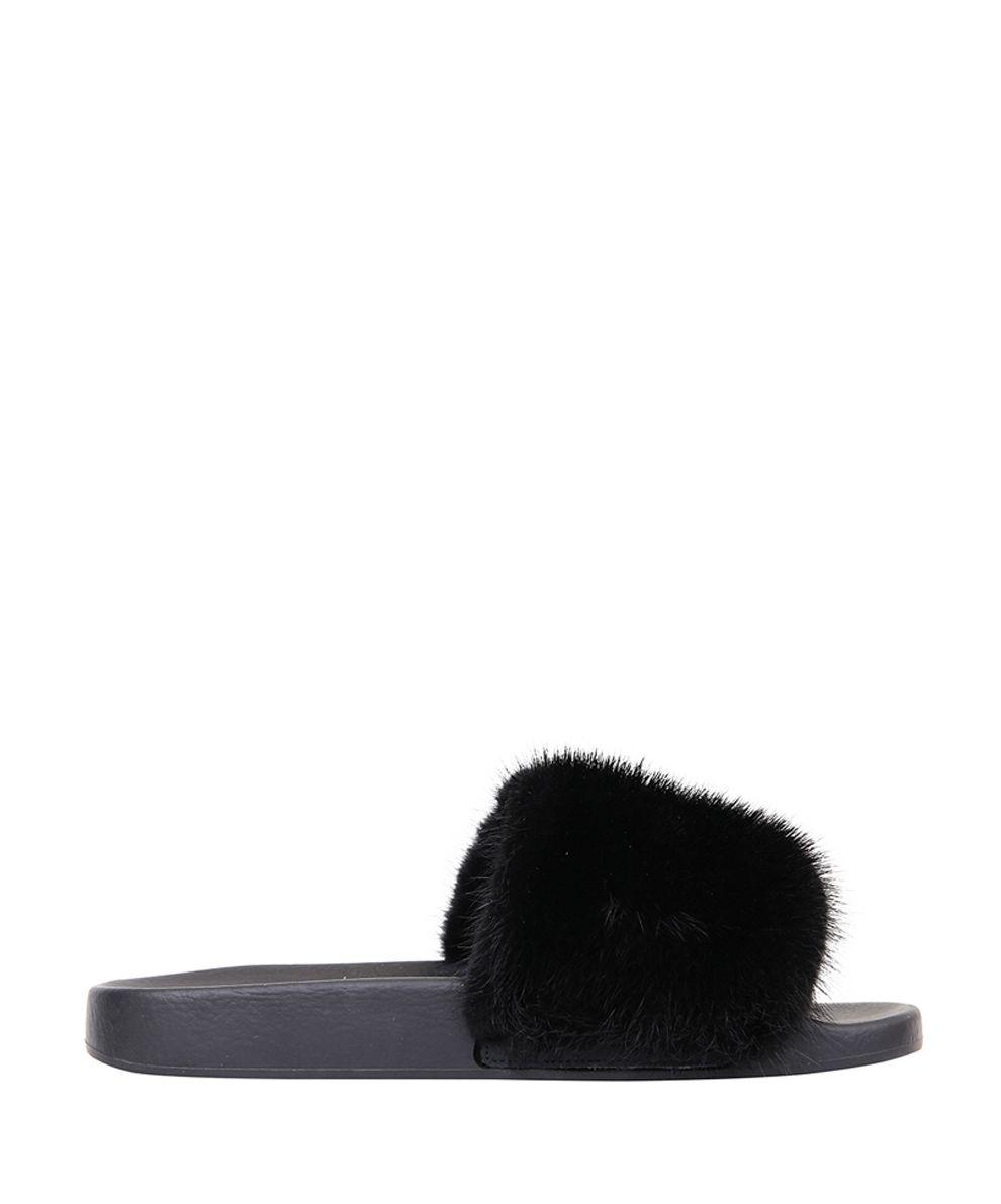 Givenchy Mink Fur Rubber Slides