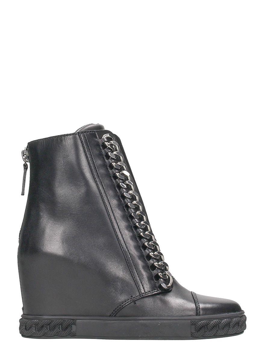 Casadei Black Wedge Sneakers