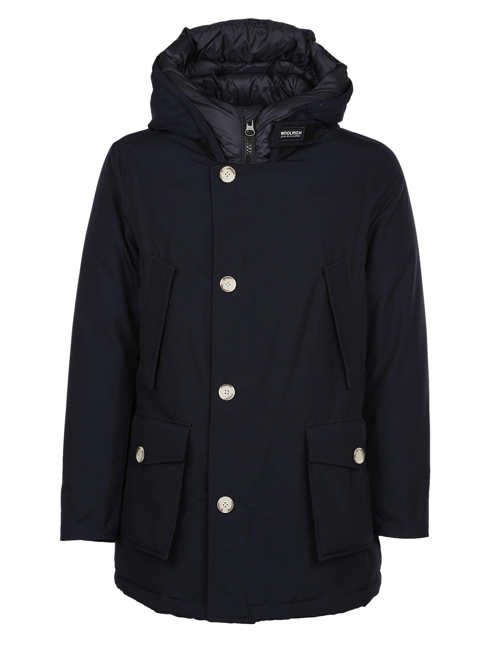 Woolrich Buttoned Hooded Coat
