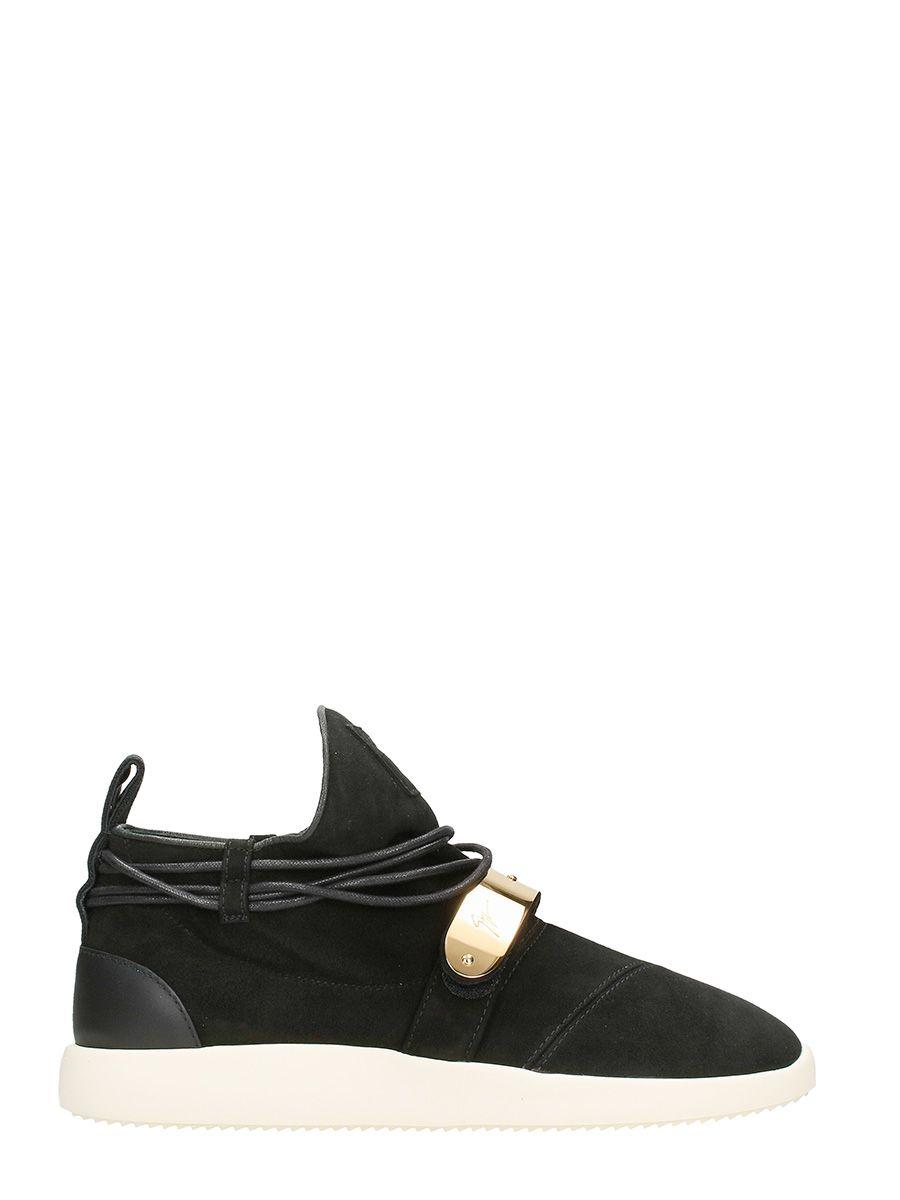 Giuseppe Zanotti Mid Top Hayden Black Suede Sneakers