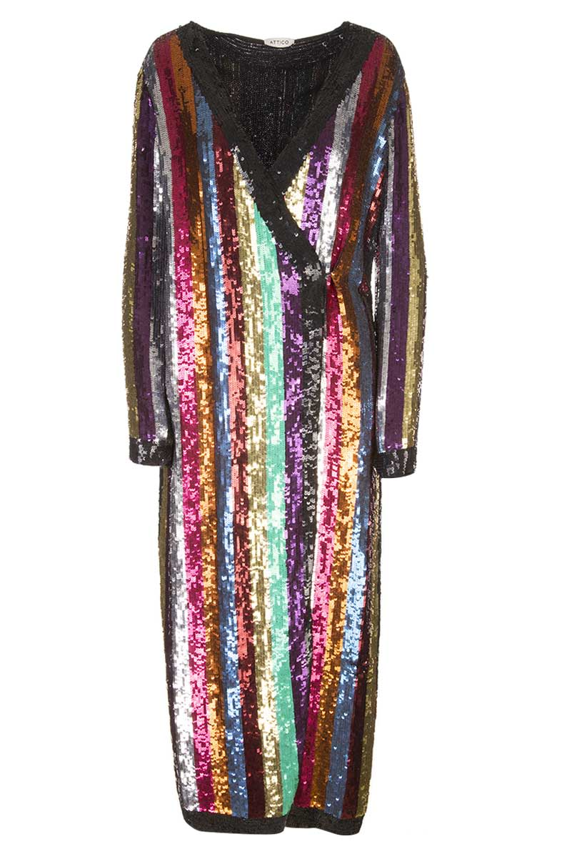 Attico Grace Striped Sequined Georgette Wrap Dress Multi
