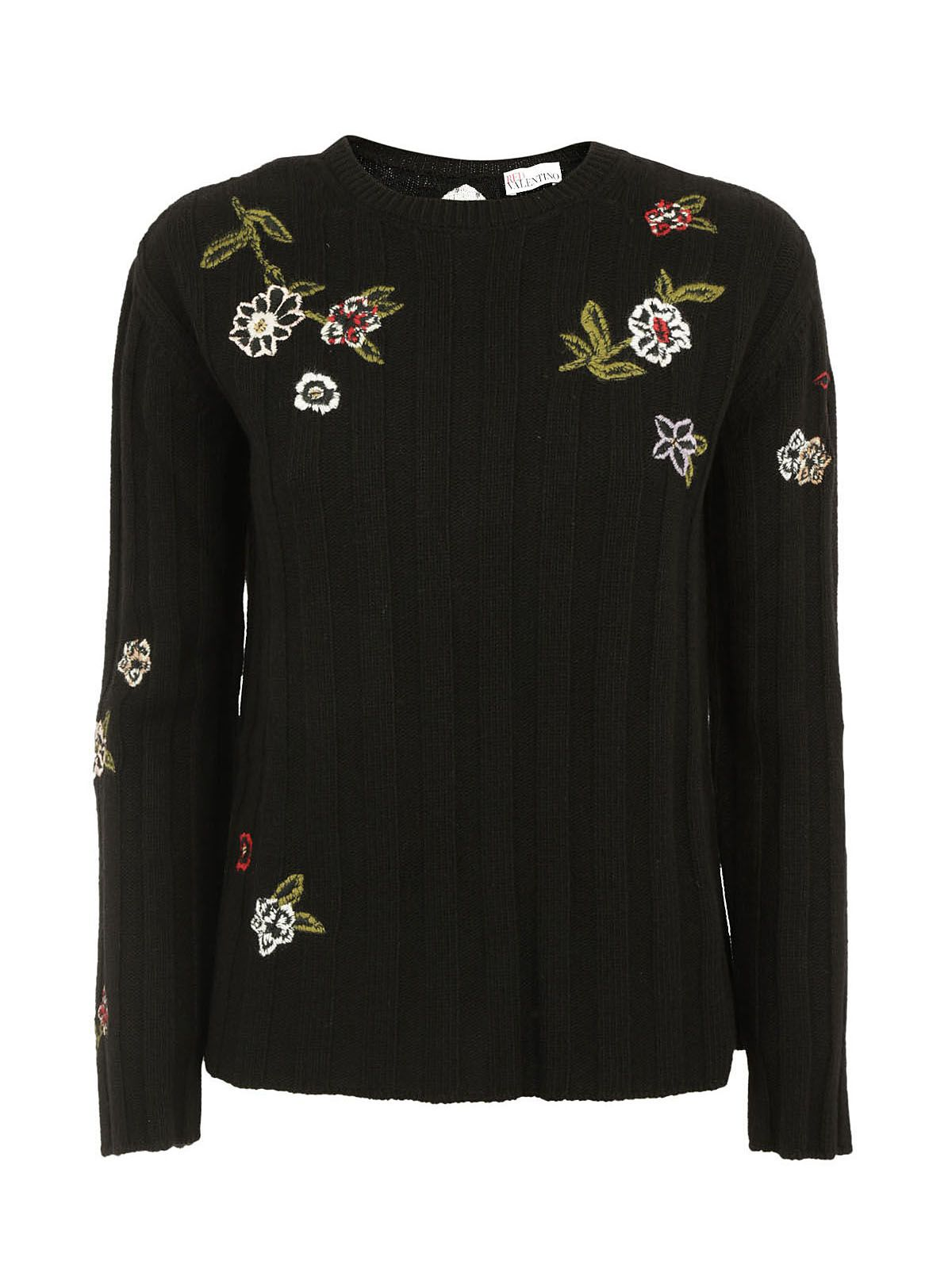 Red Valentino Embroidered Ribbed Jumper