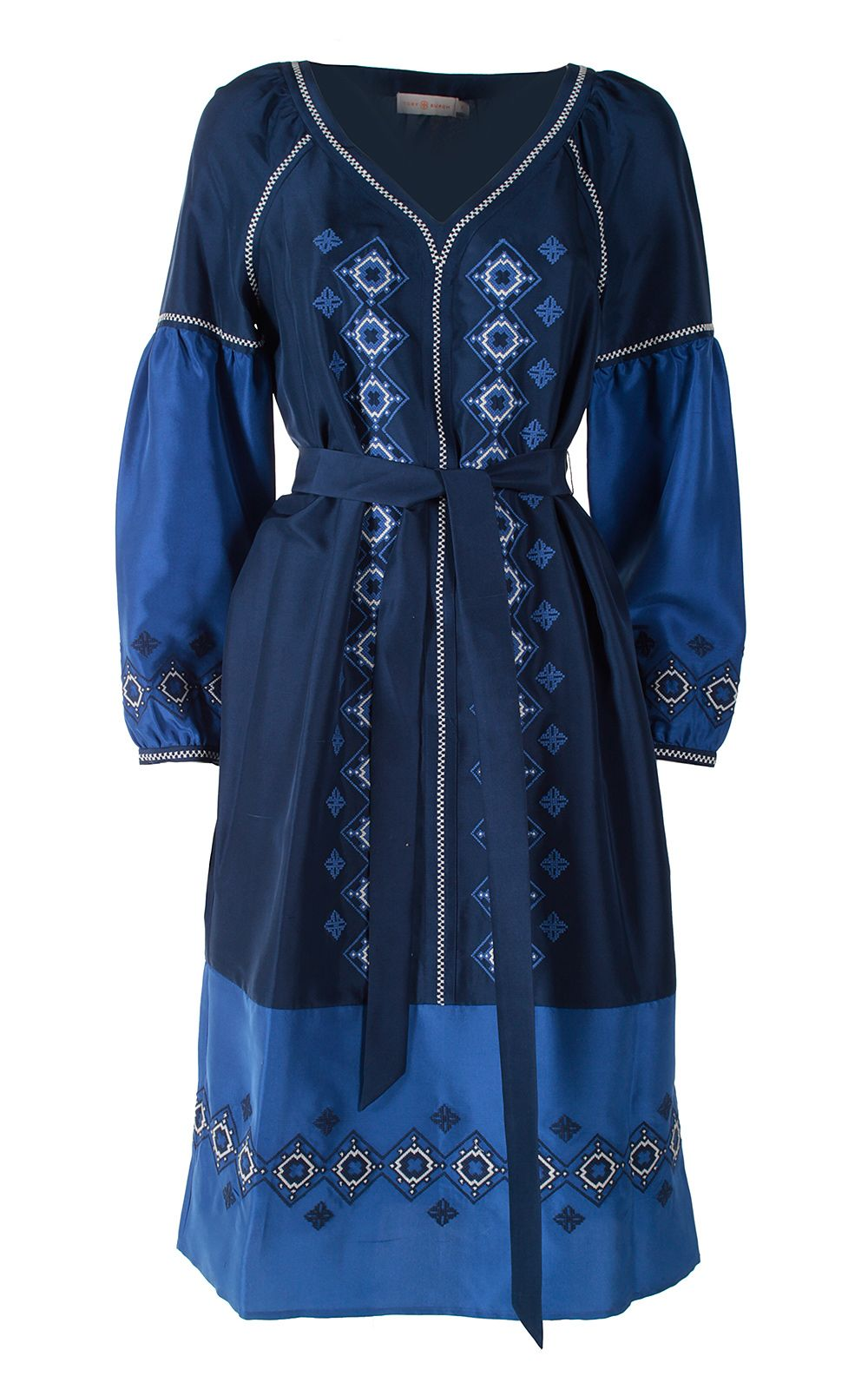 Tory Burch Katya Embroidered Washed Silk-satin Tunic Dress