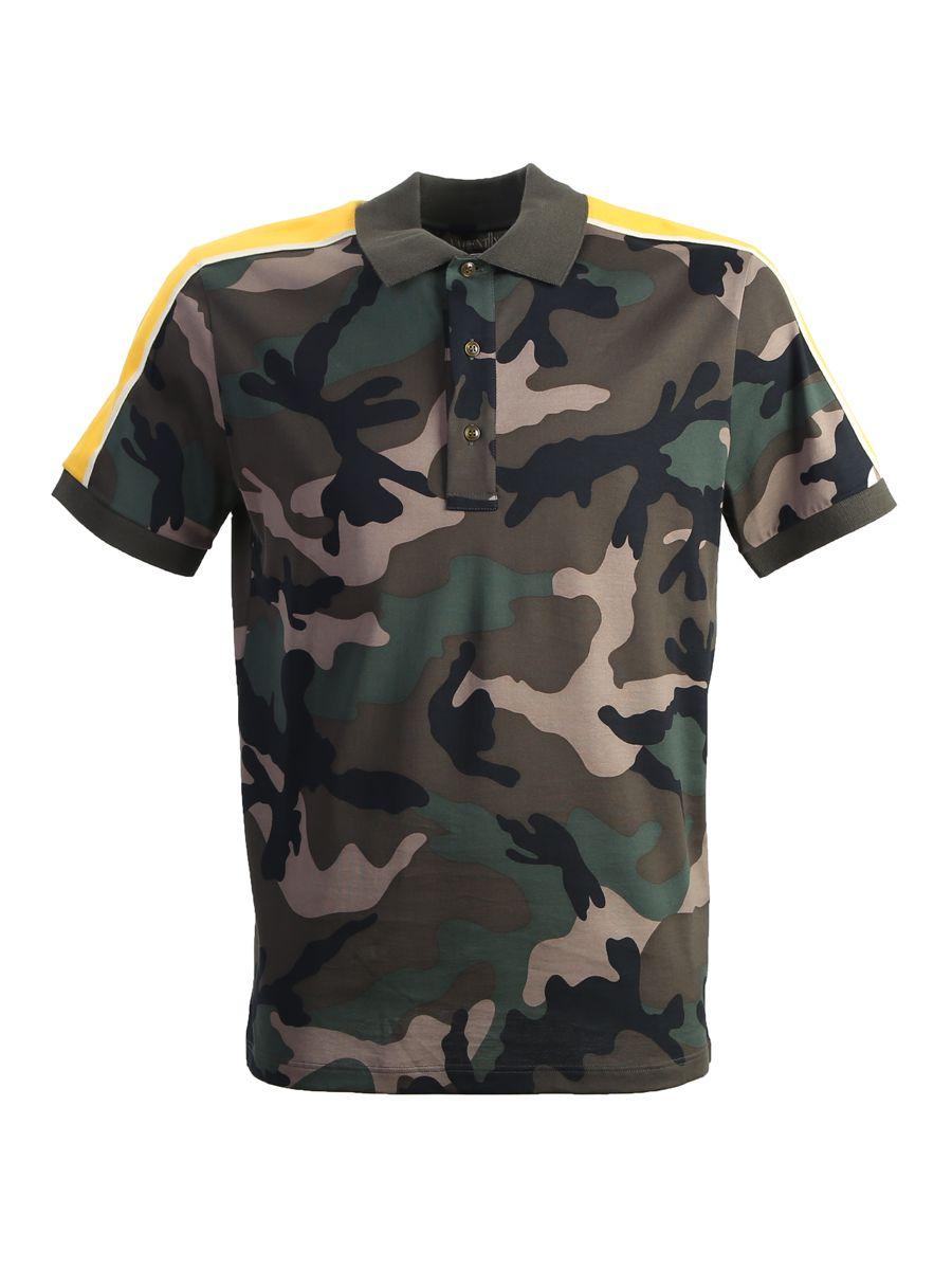 Camouflage Printed Cotton Pique Polo Shirt