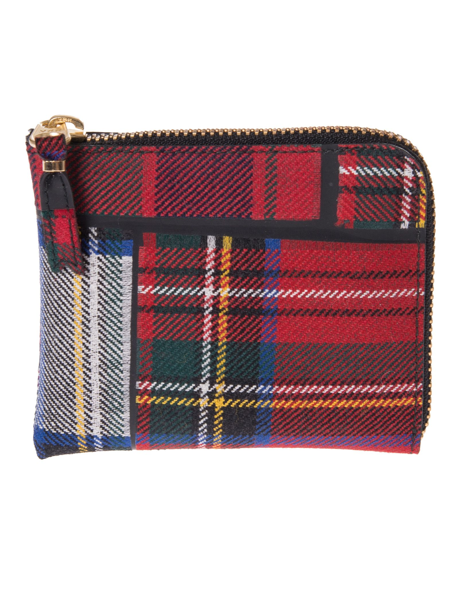 Comme Des Garcons Check Top Zip Around Wallet