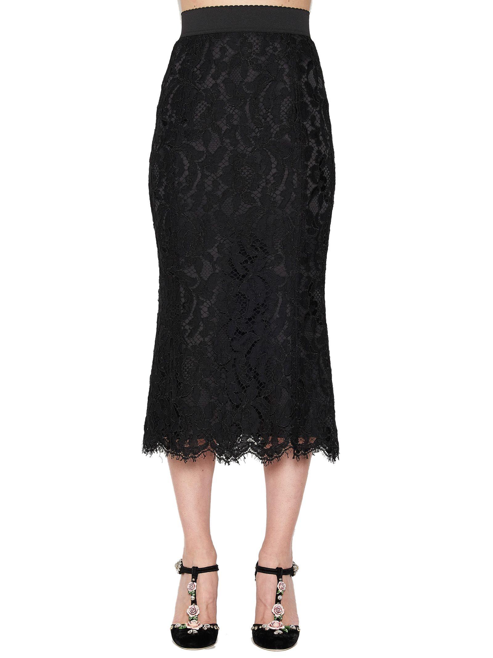 Guipure Lace Midi Skirt, Black