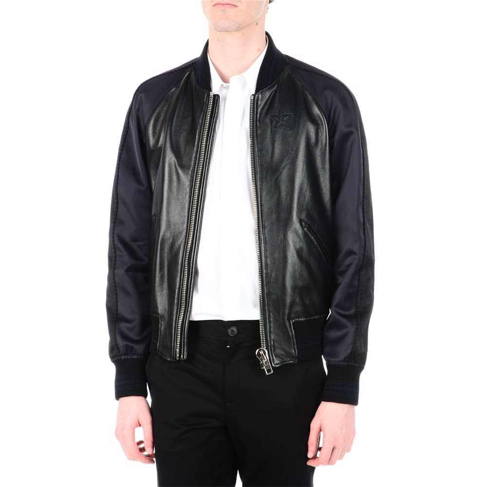 Givenchy Marine Star Embroidery Leather Jacket