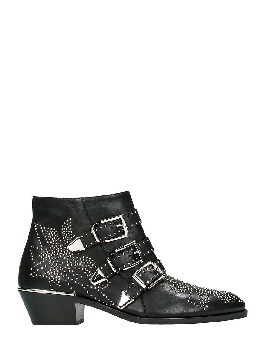 Chloé Susanna Ankle Boots In Black Nappa Sheepskin